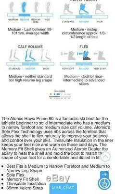 Men's Atomic All Mountain Hawx 80 Ski Boots Size 29.5
